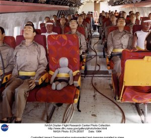Controlled Impact Demonstration instrumented test dummies installed in plane