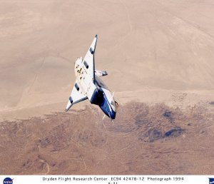 X-31 in Banked Flight over Edwards AFB