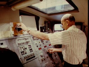 Views of the STS-4 crew during RMS training in bldg 9A