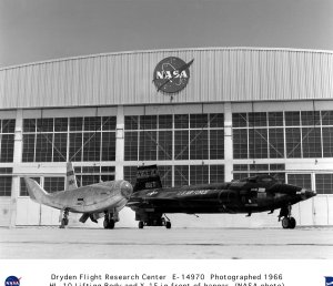 X-15A-2 and HL-10 parked on NASA ramp