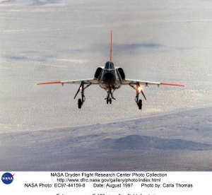 Eclipse program F-106 aircraft in flight, front view