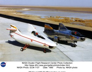 M2-F1 and M2-F2 lifting bodies on ramp