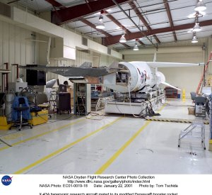 X-43A hypersonic research aircraft mated to its modified Pegasus booster rocket.