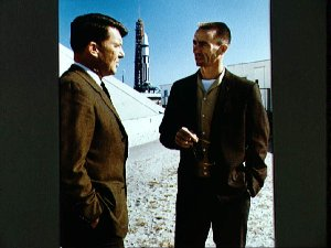 Crew members for first manned Apollo flight at unmanned mission launch
