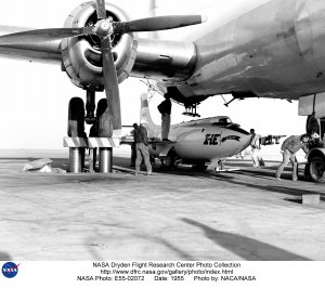 X-1E Loaded in B-29 Mothership on Ramp
