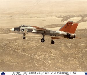 F-14 #991 in flight during spin entry and recovery tests