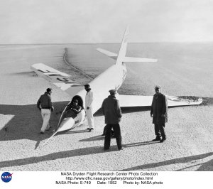 X-2 on lakebed after landing on skids