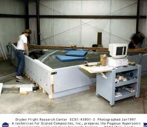 Pegasus Rocket Wing and PHYSX Glove Being Prepared for Stress Loads Testing