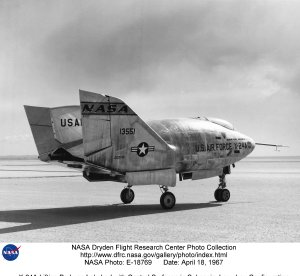 X-24A Lifting Body on Lakebed with Control Surfaces in Subsonic, Low-drag Configuration