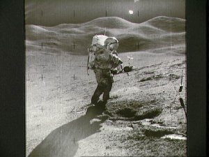 Astronaut David Scott on slope of Hadley Delta during Apollo 15 EVA