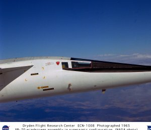 XB-70A windscreen assembly closeup in supersonic flight configuration