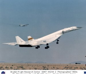 XB-70A #1 liftoff with TB-58A chase aircraft
