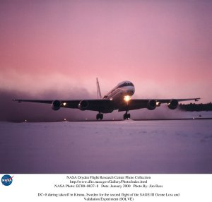 DC-8 during takeoff in Kiruna, Sweden for the second flight of the SAGE III Ozone Loss and Validatio
