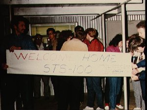 Friends and family wait at Ellington to greet returning 51-C crew