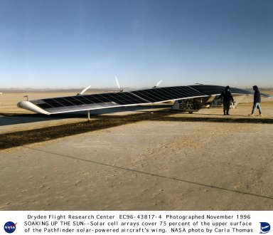 Pathfinder aircraft prepared for flight showing solar cell arrays on wing