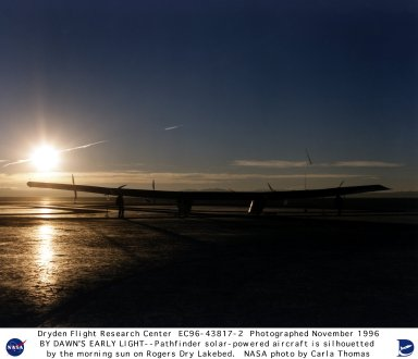 Pathfinder aircraft prepared for flight at dawn on lakebed