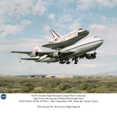 STS-64 and 747-SCA Ferry Flight Takeoff