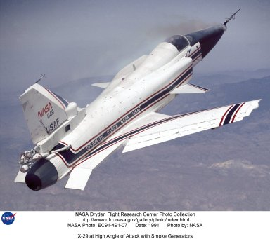 X-29 at High Angle of Attack with Smoke Generators