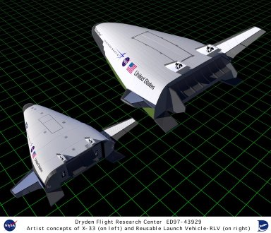 Artist concept of X-33 and Reusable Launch Vehicle (RLV)