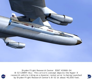 Hyper-X Research Vehicle - Artist Concept Mounted on Pegasus Rocket Attached to B-52 Launch Aircraft