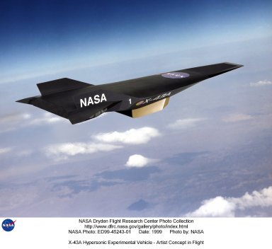 X-43A Hypersonic Experimental Vehicle - Artist Concept in Flight