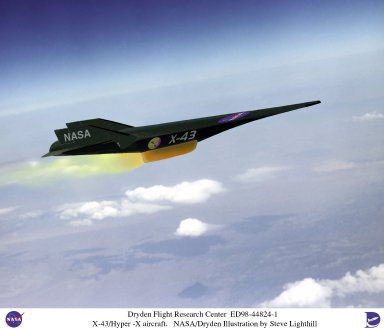 Artist Concept of X-43A/Hyper-X Hypersonic Experimental Research Vehicle in Flight