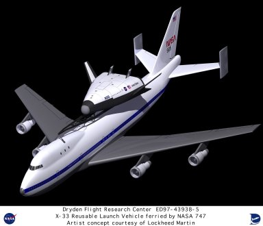 Computer graphic of Lockheed Martin X-33 Reusable Launch Vehicle (RLV) mounted on NASA 747 ferry air