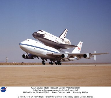 STS-68 747 SCA Ferry Flight Takeoff for Delivery to Kennedy Space Center, Florida