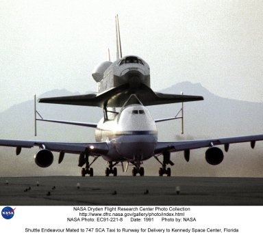 Shuttle Endeavour Mated to 747 SCA Taxi to Runway for Delivery to Kennedy Space Center, Florida