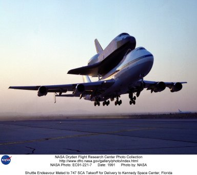Shuttle Endeavour Mated to 747 SCA Takeoff for Delivery to Kennedy Space Center, Florida