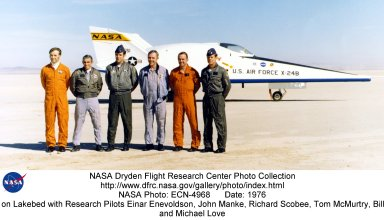 X-24B on Lakebed with Research Pilots Einar Enevoldson, John Manke, Richard Scobee, Tom McMurtry, Bi