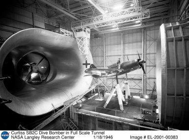 Curtiss SB2C Dive Bomber in Full Scale Tunnel