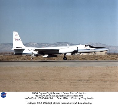 Lockheed ER-2 #806 high altitude research aircraft during landing