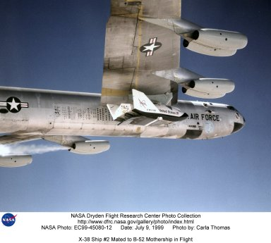 X-38 Ship #2 Mated to B-52 Mothership in Flight