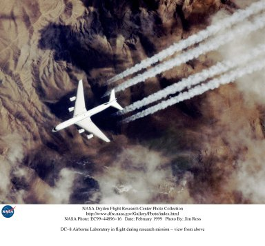 DC-8 Airborne Laboratory in flight during research mission - view from above