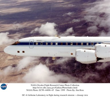 DC-8 Airborne Laboratory in flight during research mission - closeup view