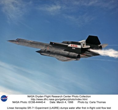 Linear Aerospike SR-71 Experiment (LASRE) dumps water after first in-flight cold flow test