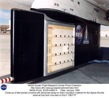 Close-up of test panels covered with advanced spray-on foam insulation material for the Space Shuttl