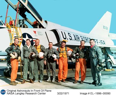Original 7 astronauts in front of the Convair F-106 B aircraft