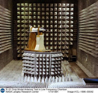 X-31 Drop Model Antenna Test in Low Frequency Chamber