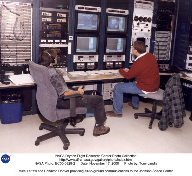 Mike Yettaw and Donavon Hoover providing air-to-ground communications to the Johnson Space Center