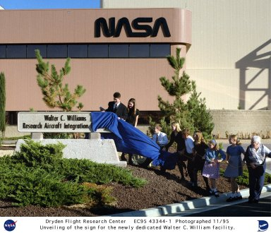 Unveiling of sign for Walter C. Williams Research Aircraft Integration Facility