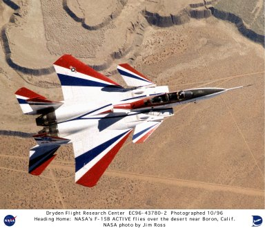 F-15B ACTIVE in flight from above over desert