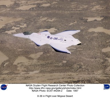 X-36 in Flight over Mojave Desert