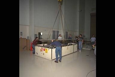 COMBUSTION MODULE 1 CM-1 SPACE LAB RACK DELIVERY AND UNPACKING