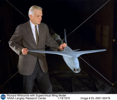Richard Whitcomb with Supercritical Wing Model
