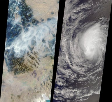 MISR Images Forest Fires and Hurricane