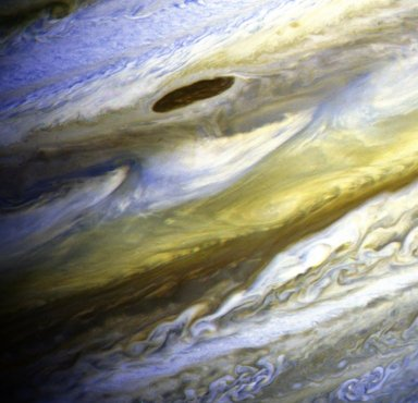 Jupiter's Equatorial Zone in Exaggerated Color