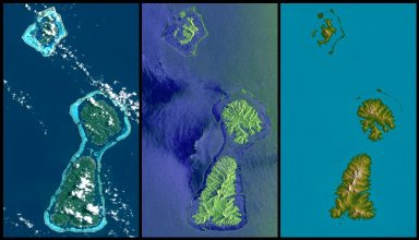 Bora Bora, Tahaa, and Raiatea, French Polynesia, Landsat and SIR-C Images Compared to SRTM Shaded Relief and Colored Height