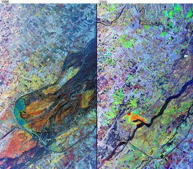 Mt. Pinatubo, Phillipines - Comparison of November, 1996 and September, 2000